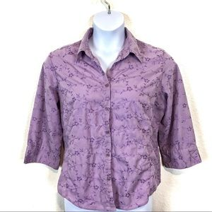 Traditions Lovely Lavender Floral Eyelet Top Sz L